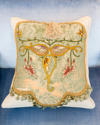 LINEN PILLOW WITH ANTIQUE EMBROIDERED PANEL
