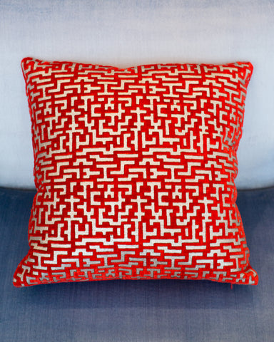 RED & SILVER VELVET PILLOW