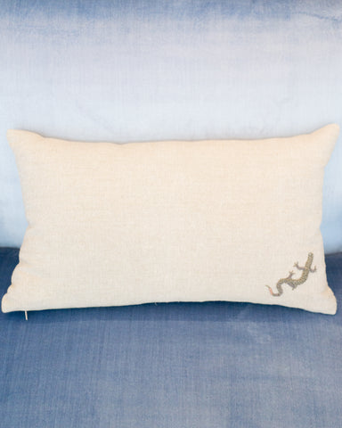 LINEN PILLOW WITH SILVER METALLIC EMBROIDERED SALAMANDER