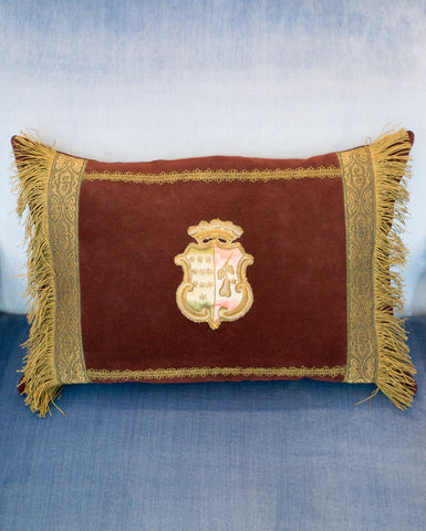 ANTIQUE BURGUNDY VELVET PILLOW WITH TRIM