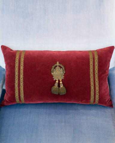 ANTIQUE LARGE BURGUNDY VELVET PILLOW WITH TRIM & TASSLES