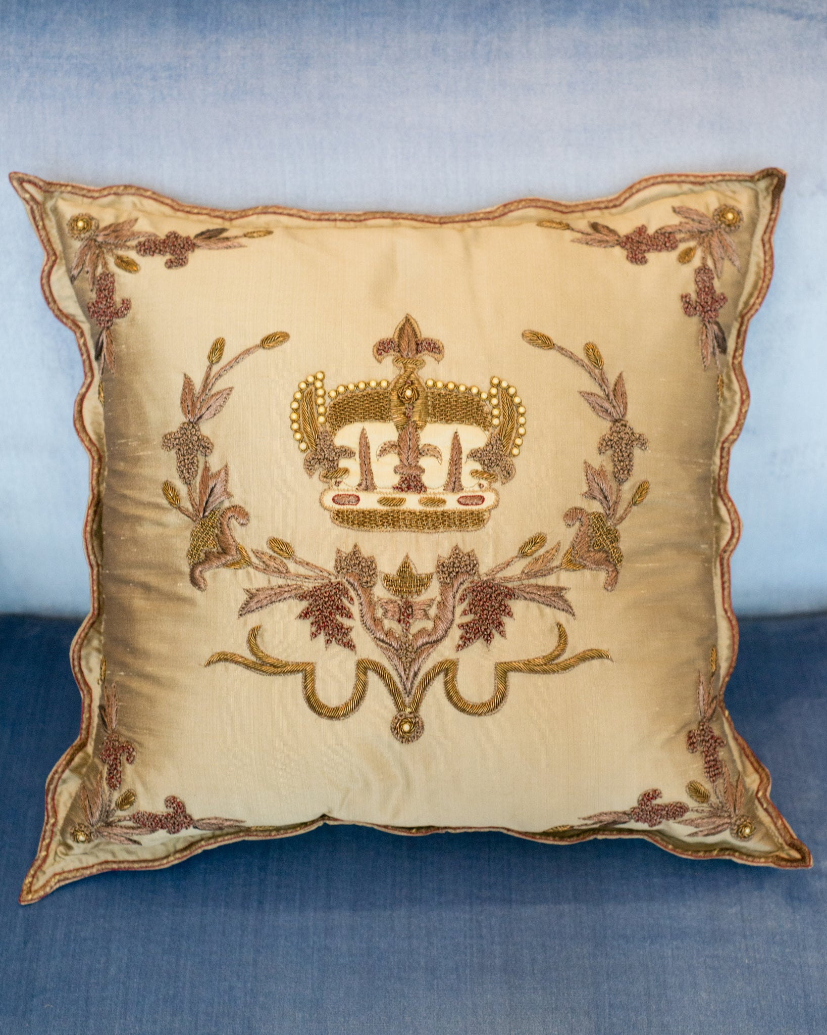GOLD SILK PILLOW WITH EMBROIDERED & BEADED CROWN