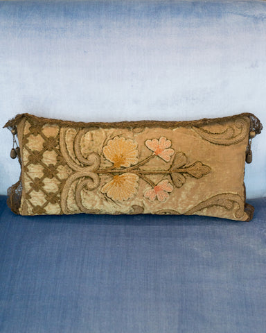 ANTIQUE OTTOMAN PILLOW WITH METALLIC TRIM AND EMBROIDERY