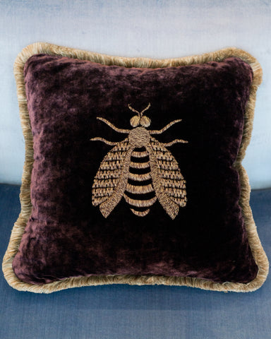 PURPLE VELVET PILLOW WITH A LARGE METALLIC EMBROIDERED BEE