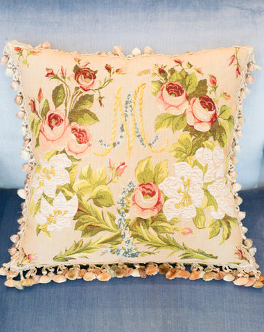 MARIE ANTOINETTE TAPESTRY PILLOW BACKED WITH GREEN VELVET