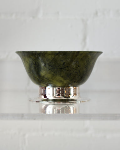 LARGE JADE BOWL ON A 925 STERLING SILVER BASE