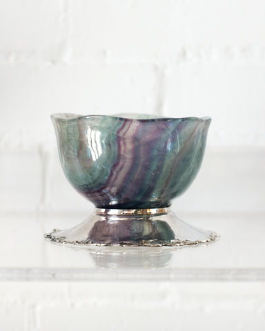 FLUORITE BOWL ON A 925 STERLING SILVER BASE