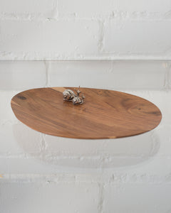 ASYMMETRIC ROSEWOOD PLATTER WITH 2 925 STERLING SILVER SNAILS