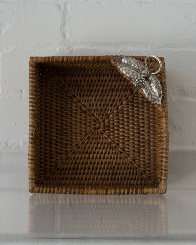 RATTAN SQUARE BASKET WITH 925 STERLING SILVER LEAVES AND A BERRY