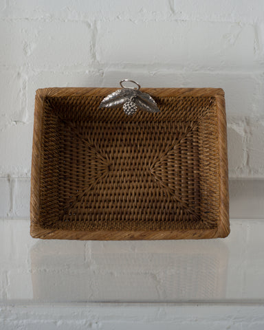 SMALL RATTAN RECTANGULAR BASKET WITH 925 STERLING SILVER LEAVES AND A BERRY