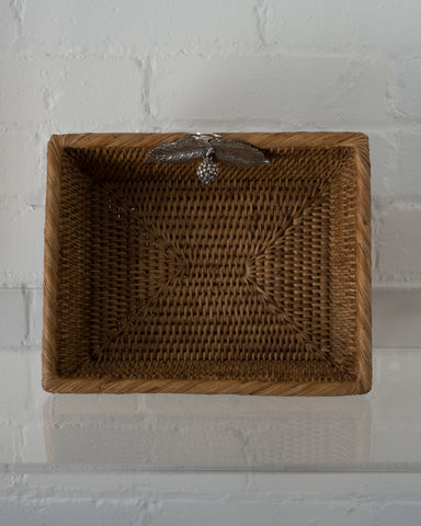 MEDIUM RATTAN RECTANGULAR BASKET WITH 925 STERLING SILVER LEAVES AND A BERRY