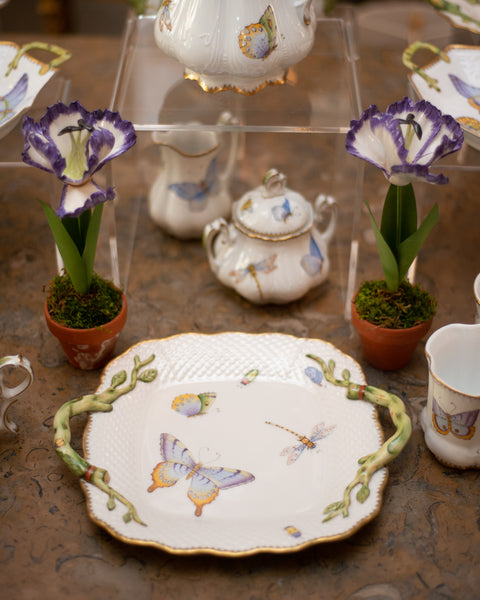 SQUARE TRAY WITH HANDLES HANDPAINTED WITH BUTTERFLIES