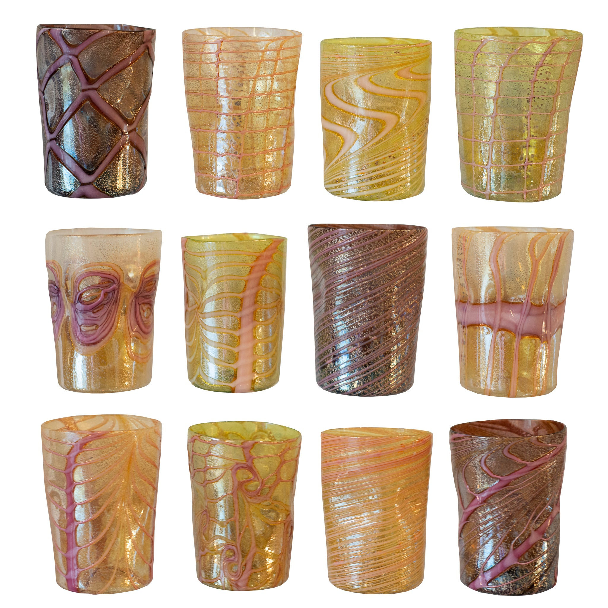 SET OF 12 CONTEMPORARY MURANO TUMBLERS