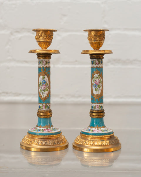 ANTIQUE PAIR OF SÈVRES & BRONZE CANDLESTICKS