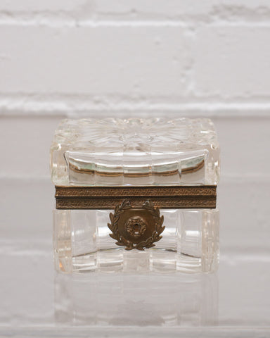 ANTIQUE CUT CRYSTAL BOX WITH BRONZE MOUNTS
