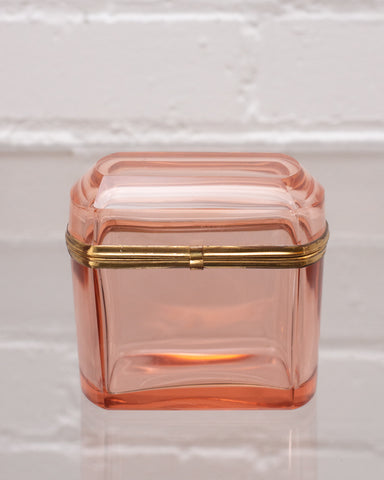 ANTIQUE PEACH CRYSTAL BOX WITH BRONZE HARDWARE