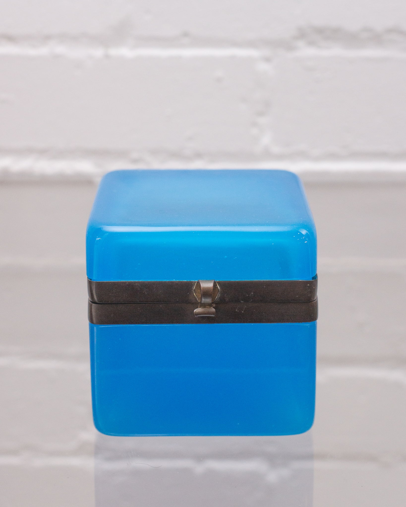 ANTIQUE BLUE OPALINE BOX WITH BRONZE HARDWARE