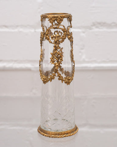 ANTIQUE SMALL CUT CRYSTAL VASE WITH ORMOLU WREATHS