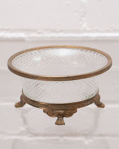 ANTIQUE CUT CRYSTAL & BRONZE MOUNTED DISH
