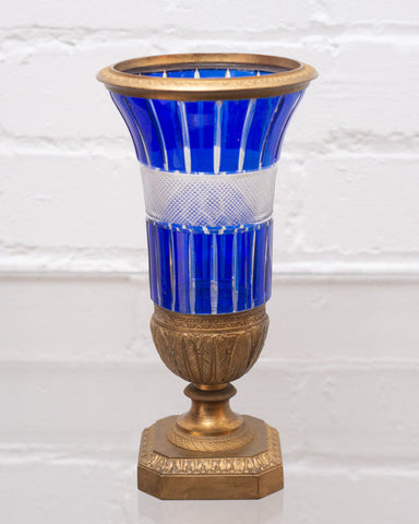 ANTIQUE RUSSIAN IMPERIAL COBALT CRYSTAL & BRONZE VASE