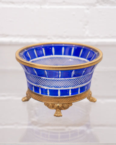 ANTIQUE RUSSIAN IMPERIAL COBALT CRYSTAL & BRONZE DISH
