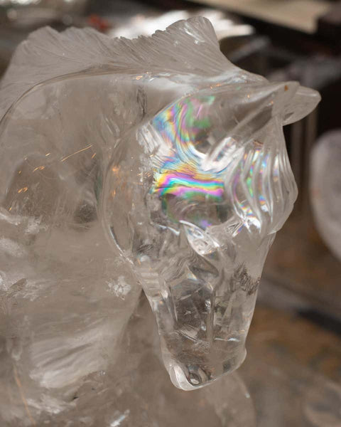 CONTEMPORARY LARGE ROCK CRYSTAL CARVED HORSE SCULPTURE