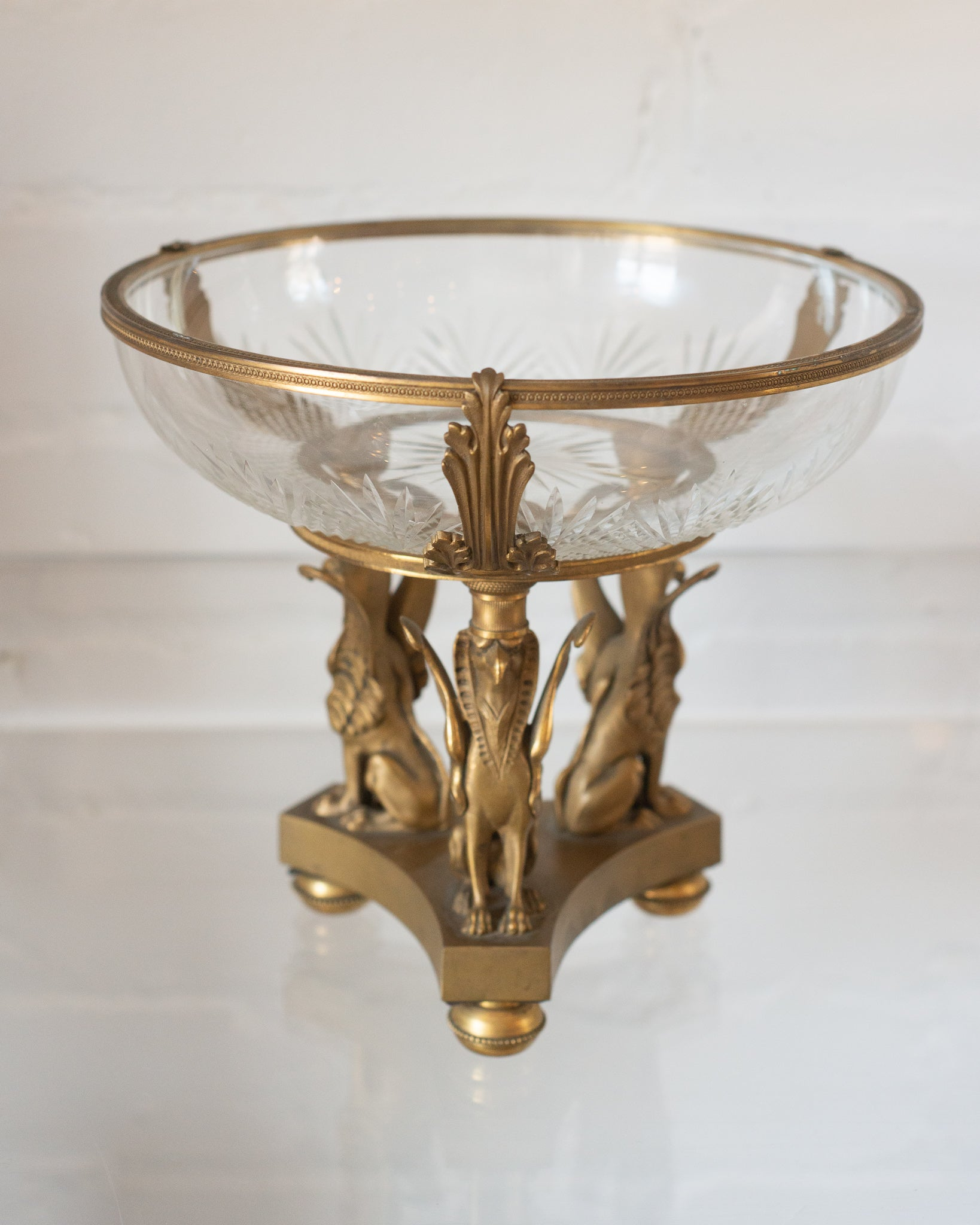 ANTIQUE BACCARAT BRONZE MOUNT BOWL