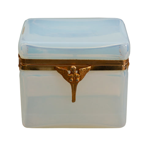 ANTIQUE FRENCH OPALINE BOX WITH EMPIRE BRONZE MOUNT