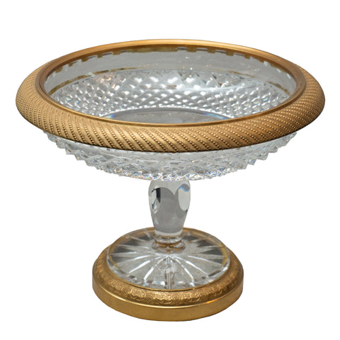 ANTIQUE FRENCH CUT CRYSTAL AND BRONZE TAZZA / COMPOTE