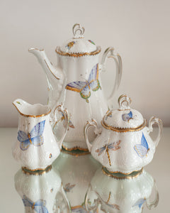 THREE PIECE COFFEE/TEA SET HANDPAINTED WITH BUTTERFLIES