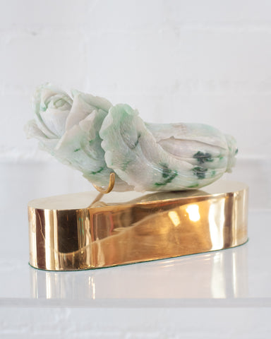 ANTIQUE CARVED JADE CABBAGE ON A CUSTOM BRASS BASE