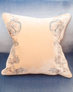 EMBROIDERED PILLOW ON NUDE SILK VELVET