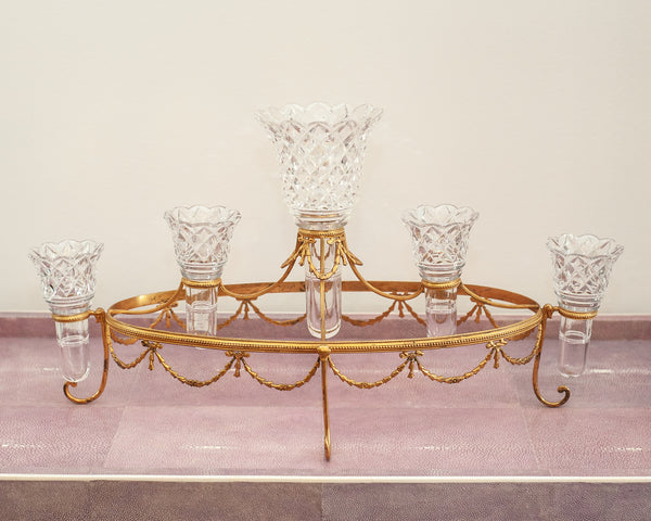 GRAND SCALE ANTIQUE ENGLISH CUT CRYSTAL & BRONZE EPERGNE