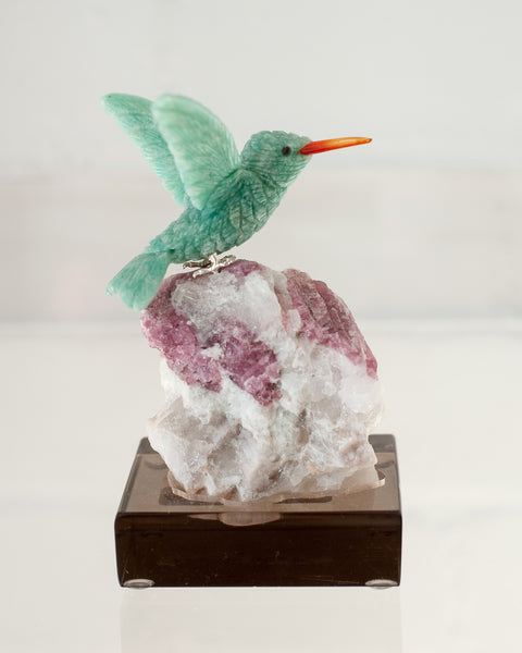 AMAZONITE HUMMINGBIRD ON RUBELLITE TOURMALINE BASE