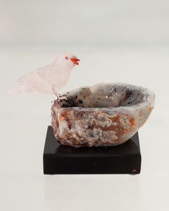 ROSE QUARTZ SPARROW ON AGATE GEODE BASE