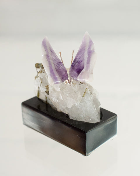 CHEVRON AMETHYST BUTTERFLY ON TOURMALINE & QUARTZ BASE