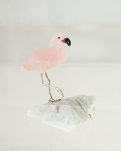 ROSE QUARTZ FLAMINGO ON AQUAMARINE BASE