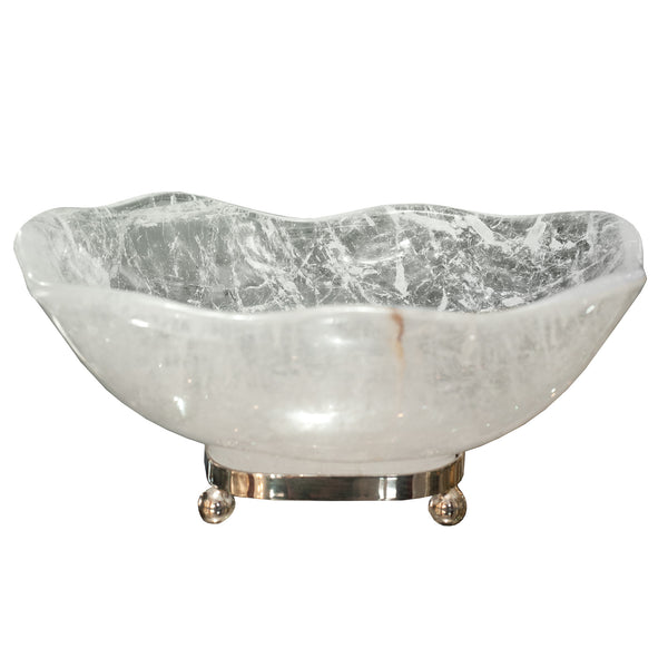 CONTEMPORARY SCALLOPED ROCK CRYSTAL BOWL FROM PARIS