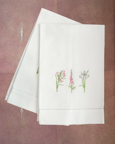 COTTON GUEST TOWEL EMBROIDERED WITH FLOWERS