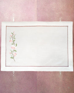 SET OF 12 LINEN PLACEMATS WITH EMBROIDERED PINK LILIES