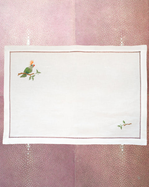 SET OF 12 LINEN PLACEMATS WITH EMBROIDERED PARROTS
