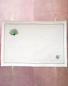 SET OF 12 LINEN PLACEMATS WITH EMBROIDERED PEACOCKS
