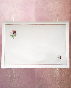SET OF 12 LINEN PLACEMATS WITH EMBROIDERED RED & BLUE FLOWERS