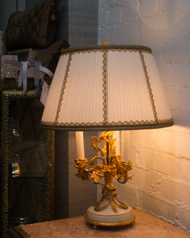 ANTIQUE FRENCH NAPOLEON III LAMP WITH A CUSTOM SILK SHADE