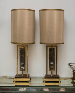 MID-CENTURY PAIR OF BRONZE & SMOKY QUARTZ LAMPS WITH CUSTOM SILK SHADES