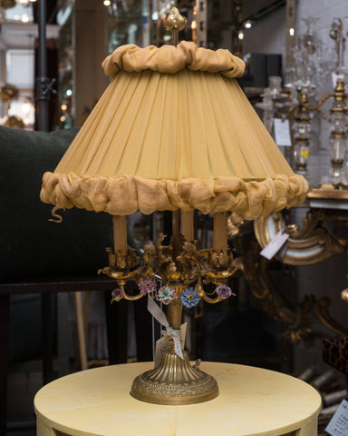 ANTIQUE FRENCH BRONZE LAMP WITH A CUSTOM SHADE