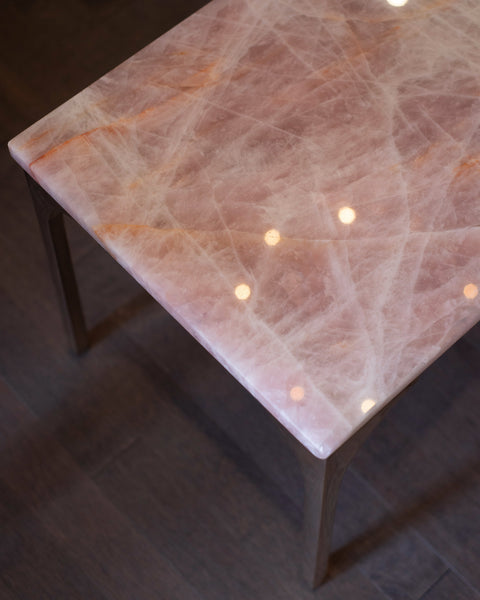 STUDIO MAISON NURITA ROSE QUARTZ & BRASS COFFEE TABLE