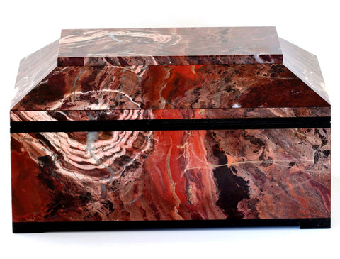 CONTEMPORARY RED JASPER BOX WITH HINGED LID