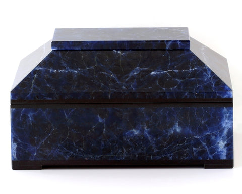 CONTEMPORARY BLUE SODALITE BOX WITH HINGED LID