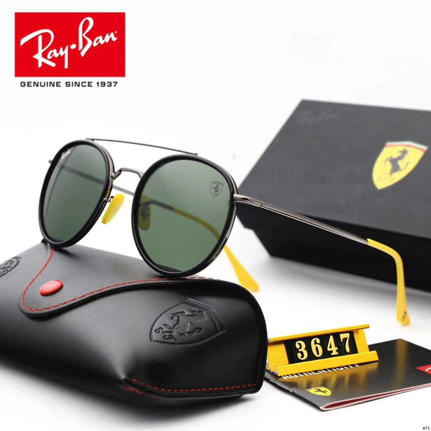 Ray Ban RB3647 Scuderia Ferrari Collection - Silver Frame & Green Lenses with Yellow Temple Tips _mxm_store_exclusive_brands